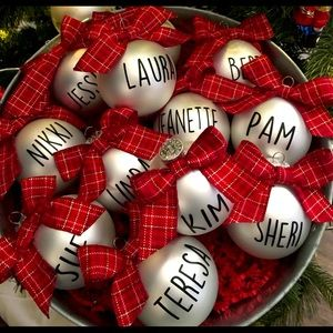 Customized ornaments, personalized w/ name , logo
